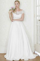 A-Line Cap-Sleeve Bateau-Neck Satin Wedding Dress With Lace And Illusion