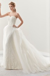 Strapless Sheath Lace Bridal Gown With Ruffles Brush Train