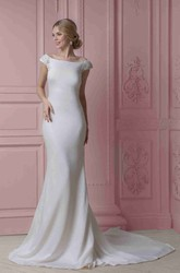 Sheath Cap-Sleeve Off-The-Shoulder Chiffon Wedding Dress With Beading And Deep-V Back