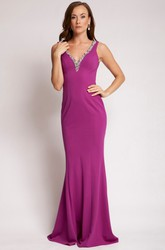 Sheath V-Neck Floor-Length Beaded Sleeveless Jersey Prom Dress