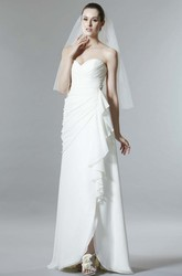 Sheath Criss-Cross Sleeveless Sweetheart Chiffon Wedding Dress