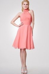 Floral High Neck Knee Length Chiffon Dress With Allover Pleats