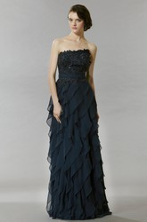A-Line Strapless Floor-Length Sleeveless Lace Chiffon Prom Dress With Backless Style And Tiers