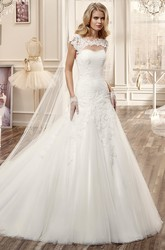 Jewel-Neck Mermaid Wedding Dress With Keyhole Back And Appliques