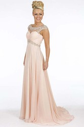 A-Line Empire Scoop Floor-Length Cap-Sleeve Beaded Chiffon Prom Dress With Waist Jewellery And Ruching