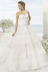 Ball-Gown Long Sweetheart Sleeveless Tiered Tulle Wedding Dress With Cascading Ruffles And Waist Jewellery