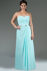 Sweetheart A-Line Chiffon Long Bridesmaid Dress With Crystal Waist