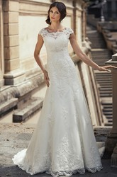 Sheath Cap-Sleeve Long Appliqued Bateau-Neck Lace Wedding Dress With Waist Jewellery