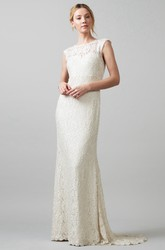 Jewel Maxi Appliqued Lace Wedding Dress With Sweep Train