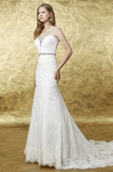 A-Line Beaded Floor-Length V-Neck Sleeveless Lace Wedding Dress With Low-V Back And Waist Jewellery