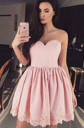 A-line Ball Gown Short Mini Sleeveless Sweetheart Pleats Ruching Lace Homecoming Dress