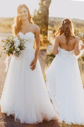 A Line Sweetheart Lace Tulle Zipper Wedding Gown