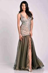 Fit And Flare V-Neck Sleeveless Prom Dress With Tulle Skirt And Sequined Bodice