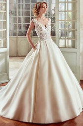 Strap-Neckline A-Line Wedding Dress With Lace Bodice And Satin Skirt