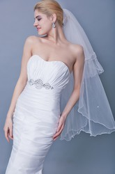 Mid Length Two Tier Veil With Beadings
