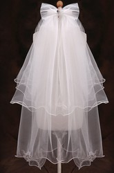 Multi-layer Ruffled Tulle Flower Girl Veil with Bow