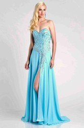 Sweetheart Chiffon A-Line Prom Dress With Side Slit And Crystal Detailing