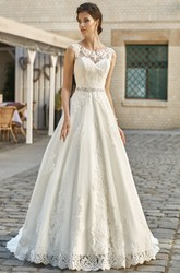 A-Line Sleeveless Floor-Length Scoop-Neck Appliqued Lace&Satin Wedding Dress With Waist Jewellery