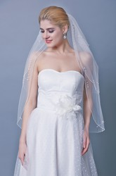 Mid Length Three Tier Veil With Beadings