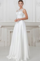 A-Line Sleeveless Long Lace Scoop-Neck Wedding Dress With Pleats