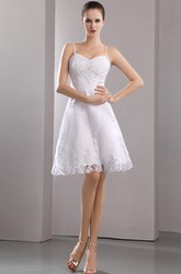 Stunning Spaghetti Sleeveless Short Wedding Gown With Embroidery