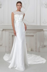 Sheath Cap-Sleeve Bateau-Neck Appliqued Long Satin Wedding Dress