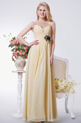 Sweetheart A-line Long Chiffon Dress With Ruching