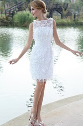 Modern Bateau-Neck Organza Bodycon Wedding Gown With Flowers Appliques