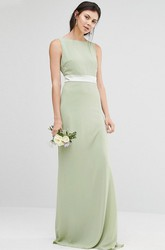 Sheath Jewel-Neck Floor-Length Sleeveless Chiffon Bridesmaid Dress With Ribbon And V Back