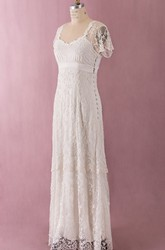 Sheath Lace Layered Side Button Decorated Empire Waist Dress With Ilusion Back and Sleeves