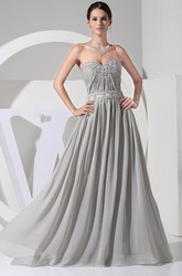 Floor Length Sweetheart Chiffon Maxi Prom Dress with Appliques and Ruching