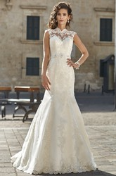 Mermaid High-Neck Sleeveless Appliqued Floor-Length Lace Wedding Dress With Waist Jewellery