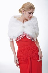 Faux Fur Bridal Wrap With Tassels And Brooch