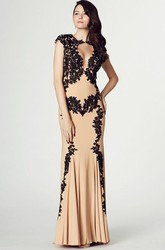 Sheath High Neck Cap Sleeve Appliqued Chiffon Prom Dress