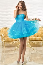 A-Line Mini Sleeveless Ruched Strapless Tulle Prom Dress With Tiers