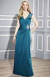 Sleeveless V-Neck Chiffon Mother Of The Bride Dress With Draping