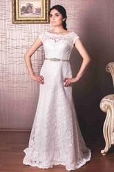 Sheath Floor-Length Cap-Sleeve Bateau-Neck Lace Wedding Dress With Waist Jewellery And Appliques