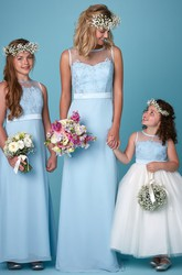 Scoop Neck Sleeveless Appliqued Chiffon Bridesmaid Dress With Illusion Back