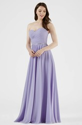 Criss-Cross Sweetheart Sleeveless Chiffon Bridesmaid Dress With Waist Jewellery