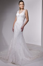 Sheath Floor-Length Appliqued Sleeveless V-Neck Satin Wedding Dress With Low-V Back And Court Train