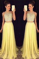 Gorgeous Beadings Sleeveless Prom Dress 2018 Long Chiffon Party Gowns
