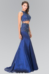 Two-Piece Mermaid High Neck Sleeveless Satin Illusion Dress With Appliques And Beading
