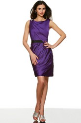 Mini Pencil Sleeveless Ruched Scoop Neck Satin Bridesmaid Dress