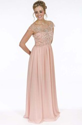 Beaded Floor-Length Cap-Sleeve Scoop-Neck Chiffon Prom Dress