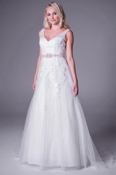 A-Line V-Neck Jeweled Maxi Sleeveless Tulle Plus Size Wedding Dress With Appliques And V Back