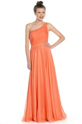 Long Beaded One-Shoulder Sleeveless Satin&Tulle Prom Dress With Waist Jewellery And Ruching