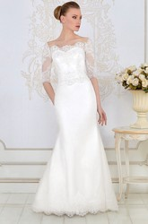 Sheath Floor-Length Appliqued Bateau-Neck Half-Sleeve Lace&Satin Wedding Dress