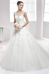 Jewel-Neck Lace Appliqued A-Line Gown With Illusive Neckline And Brush Train
