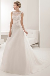 Sleeveless Illusion Neck A-line Wedding Gown With Waist Flower