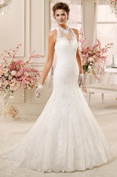 High-Neck Mermaid Lace Wedding Dress With Illusive Lace Neck And Back